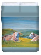 Cows Lying Down Painting Duvet Cover