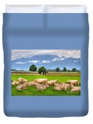 Cows On The Green Field Duvet Cover