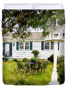 Cozy Little Back Yard Terrace With Table And Chair Duvet Cover