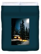 Cozy Log Cabin At Moon-lit Winter Night Duvet Cover