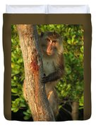 Crab Eating Macaque Duvet Cover by Ramona Johnston