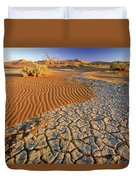 Cracking Dirt And Dunes Namib Desert Duvet Cover