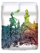 Cracow City Skyline Map Duvet Cover
