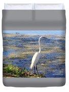 Crane At Pond Duvet Cover