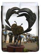 Crap Sculpture Fisherman's Wharf San Francisco Duvet Cover