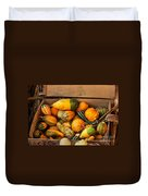 Crate Filled With Pumpkins And Gourts Duvet Cover