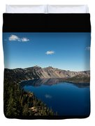 Crater Lake And Boat Duvet Cover