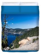Crater Lake And Moss Covered Tree Duvet Cover