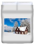Crater Lake Home - Crater Lake Covered In Snow In The Winter. Duvet Cover