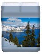 Crater Lake Winter Panorama Duvet Cover