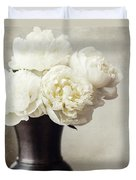 Cream Peonies In A Rustic Vase Duvet Cover