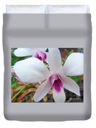 Creamy White And Hot Pink Orchid Duvet Cover