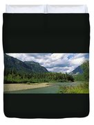 Creek Along Mountains, Mcdonald Creek Duvet Cover
