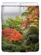 Creek At Japanese Garden In The Fall Duvet Cover