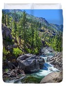 Creek Flowing Through Rocks, Icicle Duvet Cover
