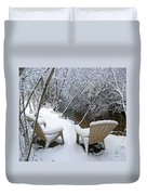 Creekside Chairs In The Snow 2 Duvet Cover