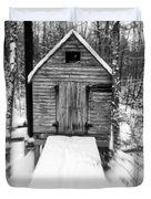 Creepy Cabin In The Woods Duvet Cover by Edward Fielding
