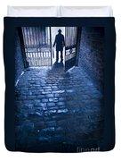 Creepy Man Standing Behind A Wrought Iron Gateway Duvet Cover