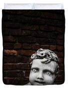 Creepy Marble Boy Garden Statue Duvet Cover