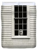 Creepy Victorian Girl Looking Out Window Duvet Cover by Edward Fielding