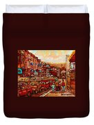 Crescent Street Family Stroll  Montreal City In Autumn City Scene Paintings Carole Spandau Duvet Cover