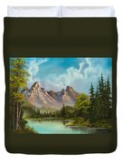 Crimson Mountains Duvet Cover