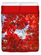 Crimson Red Leaves Background Duvet Cover