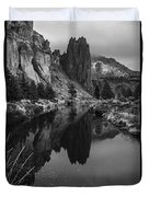 Crooked River Reflection Bw Duvet Cover