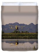 Crop Duster Applying Seed To Rice Field Duvet Cover