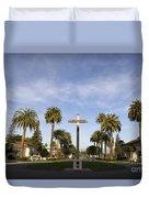 Cross And Palm Trees Mission Santa Clara Duvet Cover