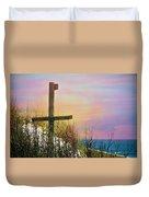 Cross At Sunset Beach Duvet Cover