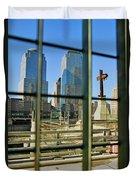 Cross At World Trade Towers Memorial Duvet Cover
