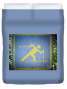 Cross Country Skiing Signboard Duvet Cover