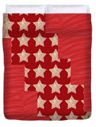 Cross Through Sparkle Stars On Red Silken Base Duvet Cover