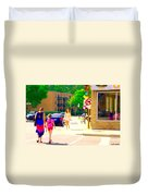 Crossing Notre Dame At Charlevoix To Dilallo Burger Montreal Summer City Scene Carole Spandau Duvet Cover