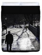 Crossing Over - Central Park - Nyc Duvet Cover