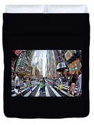 Crossing The City Street Duvet Cover