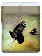 Crow And Red-winged Blackbird Duvet Cover