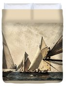 A Vintage Processed Image Of A Sail Race In Port Mahon Menorca - Crowded Sea Duvet Cover