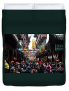 Crowds Throng Shanghai Chenghuang Miao Temple Over Lunar New Year China Duvet Cover