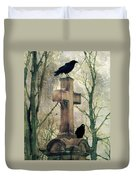 Urban Graveyard Crows Duvet Cover