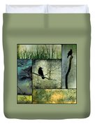 Crows In Nature Collage Duvet Cover