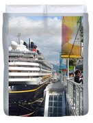 Cruise Dockside In Vancouver Duvet Cover