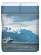 Cruise Ship In The Sognefjord In Norway Duvet Cover