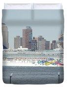 Cruise Ship On The Hudson Duvet Cover
