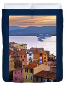 Cruise Ships At St.tropez Duvet Cover
