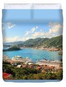 Cruise Ships In St. Thomas Usvi Duvet Cover