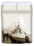 Cruiser Uss New York Going Into Dry Dock San Francisco Circa 1903 Duvet Cover