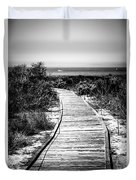 Crystal Cove Wooden Walkway In Black And White Duvet Cover