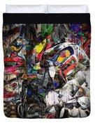 Cubist Photographic Composition Of Totem Poles Duvet Cover